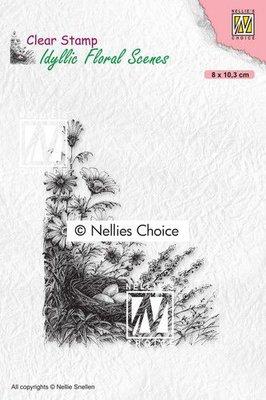 Nellies Choice clearstamp - Idyllic Floral - Vogelnest IFS032 80x103mm (01-21)