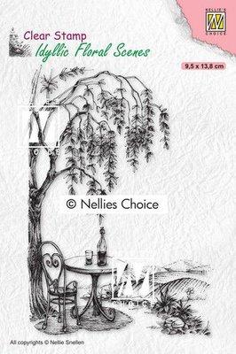 Nellies Choice clearstamp - Idyllic Floral - Zitplek bij een boom IFS031 95x138mm (01-21)
