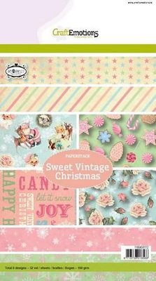 118040/0112 CraftEmotions Paper stack Sweet Vintage Christmas 32 vel A5