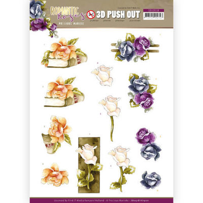 SB10518 - HJ19101 3D Push Out - Precious Marieke - Romantic Roses - Multicolor Rose