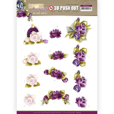 SB10517 3D Push Out - Precious Marieke - Romantic Roses - Purple Rose