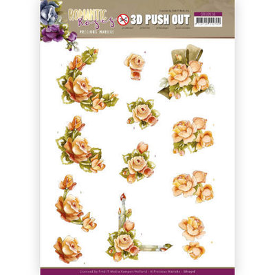 SB10516 3D Push Out - Precious Marieke - Romantic Roses - Orange Rose