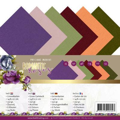 PM-A5-10028 Linen Cardstock Pack - A5 - Precious Marieke - Romantic Roses
