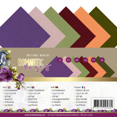PM-4K-10028 Linen Cardstock Pack - 4K - Precious Marieke - Romantic Roses