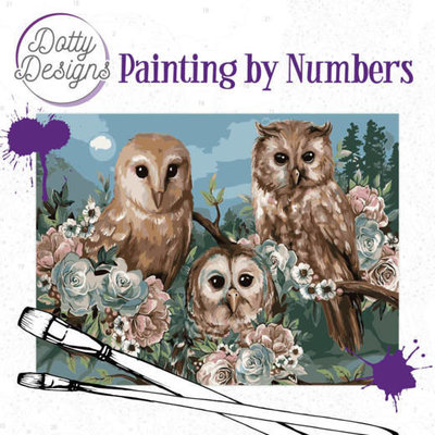 DDP1015 Dotty Designs Painting by Numbers - Romantic Owls