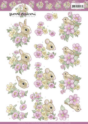 CD11599 3D Cutting Sheet - Yvonne Creations - Pink flowers and Animals