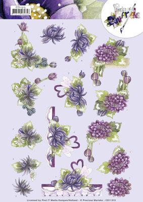 CD11315 3D Cutting Sheet - Precious Marieke - Purple Dahlias
