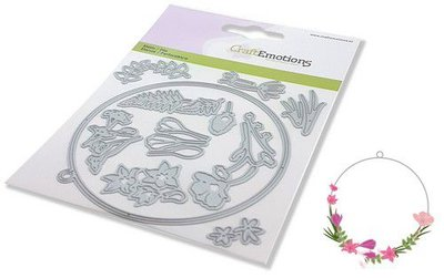 CraftEmotions Die - floral decoration rond Card 11x16cm 9,3cm (02-21)