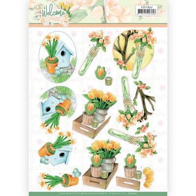 CD11632 3D cutting sheet - Jeanine's Art - Welcome Spring - Orange Tulips