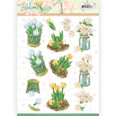 CD11631 3D cutting sheet - Jeanine's Art  Welcome Spring - Yellow Tulips