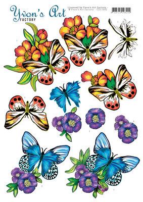 CD11642 3D Cutting Sheet - Yvon's Art - Butterflies Blue