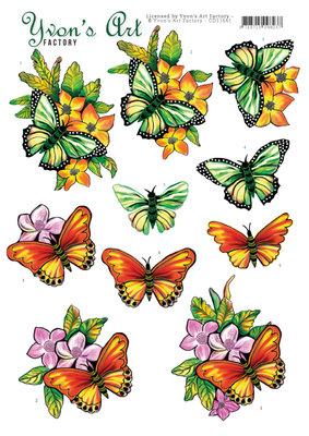 CD11641 3D Cutting Sheet - Yvon's Art - Butterflies orange