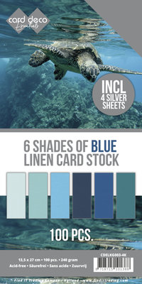 6 Shades of Blue Linen Card Stock - 4K