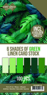 6 Shades of Green Linen Card Stock - 4K