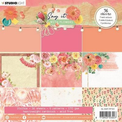 Studio Light Paper pad Pattern Paper Say it with flowers nr.161 SL-SWF-PP161 150x150mm (03-21)