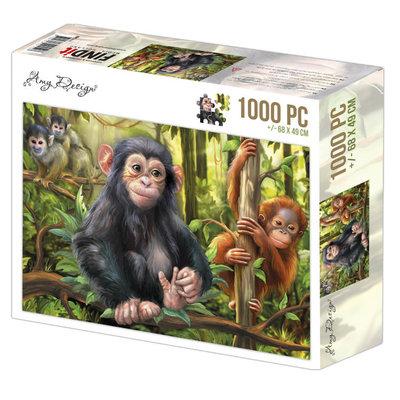 ADPZ1011 Jigsaw puzzel 1000 pc - Amy Design - Monkeys