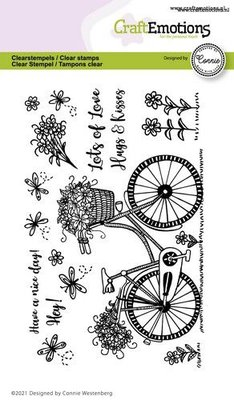 CraftEmotions clearstamps A6 - fiets - Have a nice day Connie Westenberg (3-21)