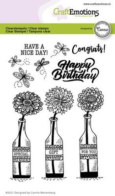 CraftEmotions clearstamps A6 - flessen - Special gift for you Connie Westenberg (3-21)