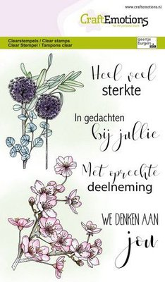 CraftEmotions clearstamps A6 - bloemen condoleance (NL) GB (03-21)