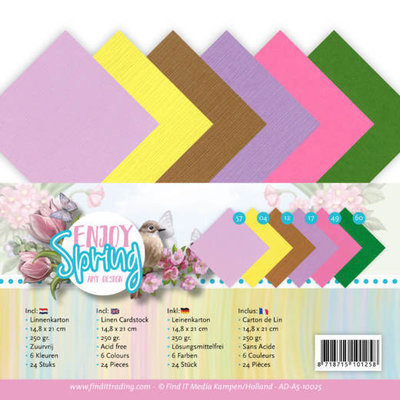 AD-A5-10025 Linen Cardstock Pack - A5 - Amy Design - Enjoy Spring