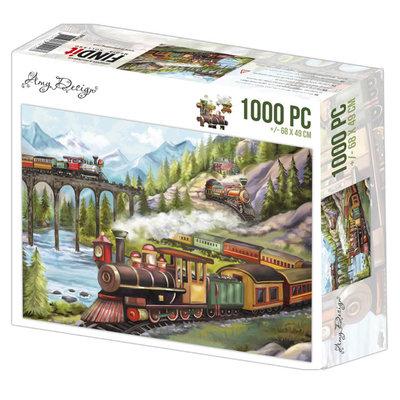 ADPZ1014 Jigsaw puzzel 1000 pc - Amy Design - Trains