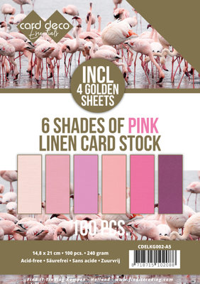 6 Shades of pink Linen Card Stock - A5