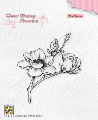 Nellie's Choice Clear stamps Flowers - Magnolia tak FLO028 72x80mm (04-21)