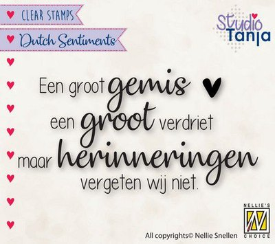 Nellies Choice Clearstempel Sentiments - Een groot gemis (NL) SENC019 79x41mm (04-21)