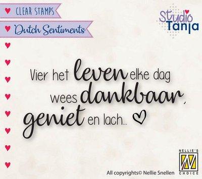 Nellies Choice Clearstempel Sentiments - Vier het leven (NL) SENC017 73x36mm (04-21)