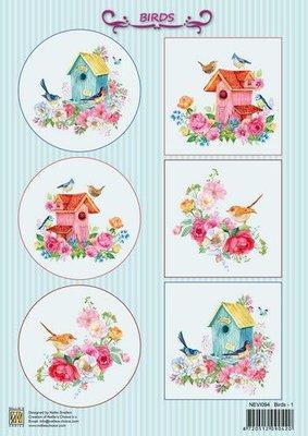 Nellie's Choice Decoupage knipvel Vogels NEVI094 A4 (10 pcs/pkg) (04-21)