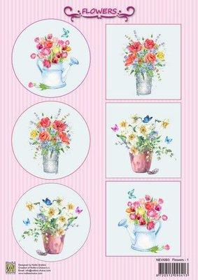 Nellie's Choice Decoupage knipvel Bloemen NEVI093 A4 (10 pcs/pkg) (04-21)