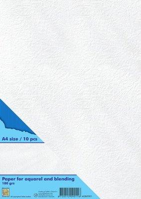 Nellie's Choice Papier voor blending & Aquarel technieken 10st wit AQBLP001 A4 180gr  (04-21)