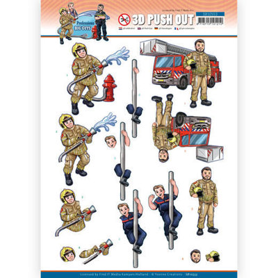 SB10553 3D Push Out - Yvonne Creations - Big Guys Professions - Fire department