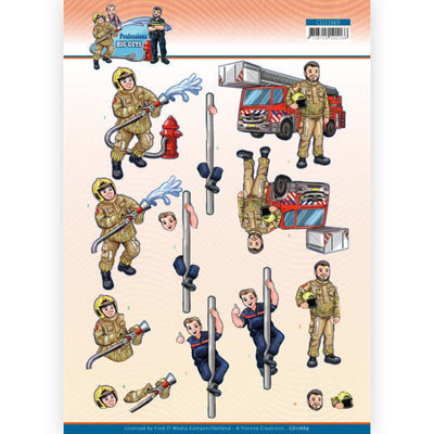 CD11669 3D Cutting Sheet - Yvonne Creations - Big Guys Professions - Fire department