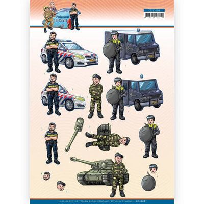 CD11668 3D Cutting Sheet - Yvonne Creations - Big Guys Professions - Police