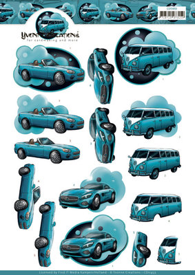 CD11453 3D Cutting Sheet - Yvonne Creations - Cars in Blue