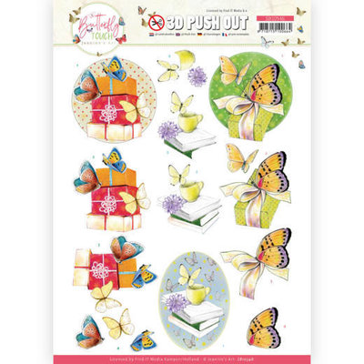 SB10546 3D Push Out - Jeanine's Art - Butterfly Touch - Yellow Butterfly