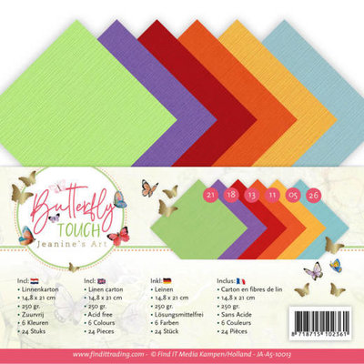 JA-A5-10013 Linen Cardstock Pack - A5 - Jeanine's Art - Butterfly Touch