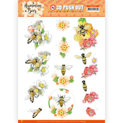 SB10559 3D Push Out - Jeanine's Art - Humming Bees - Bee Queen