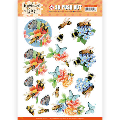 SB10558 3D Push Out - Jeanine's Art - Humming Bees -Bees and Bumblebee