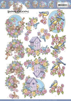 CD11616 3D Cutting Sheet - Yvonne Creations - Flowers and Birds