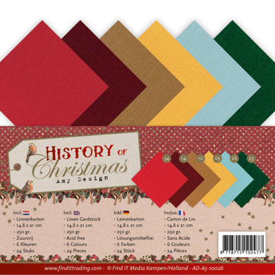 AD-A5-10026 Linen Cardstock Pack - A5 - Amy Design - History of Christmas