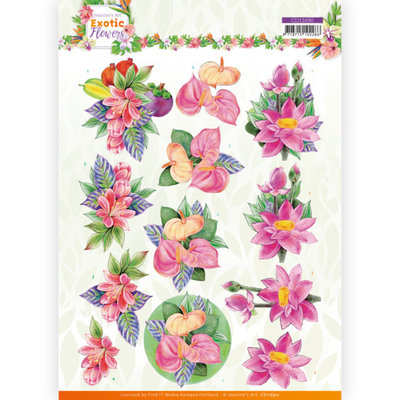 CD11690 3D cutting sheet - Jeanine's Art - Exotic Flowers - Pink Flowers