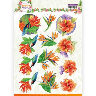 CD11688 3D cutting sheet - Jeanine's Art - Exotic Flowers - Blue Flowers
