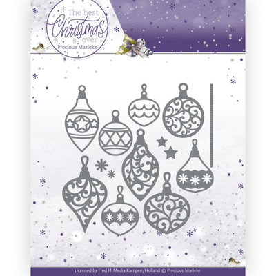 PM10211 Dies - Precious Marieke - The Best Christmas Ever - Bunch of Christmas Baubles