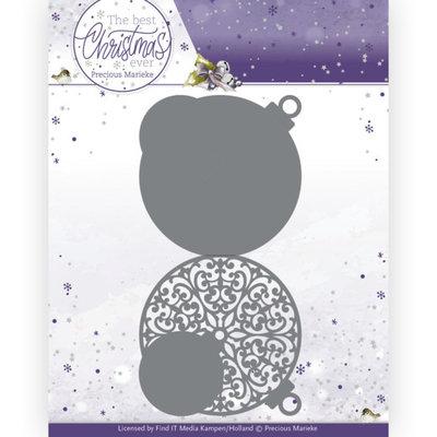 PM10208 Dies - Precious Marieke - The Best Christmas Ever - Christmas Bauble Shape Card
