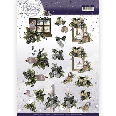 CD11682 3D Cutting Sheet - Precious Marieke - The Best Christmas Ever - Blue Bow and Candles