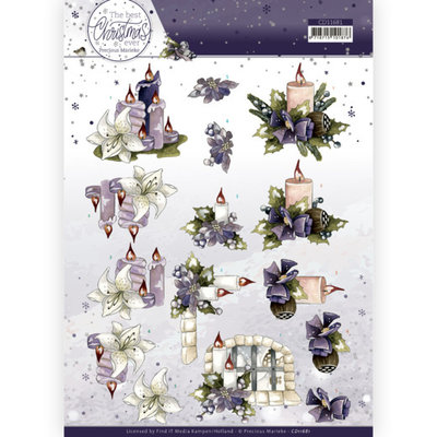 CD11681 3D Cutting Sheet - Precious Marieke - The Best Christmas Ever - Red Apples and Candles