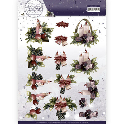 CD11679 3D Cutting Sheet - Precious Marieke - The Best Christmas Ever - Purple Flowers And Candles