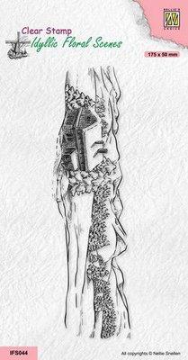 Nellie's Choice clearstamp - Idyllic Floral - Slimline landschap IFS044 175x50mm (08-21)